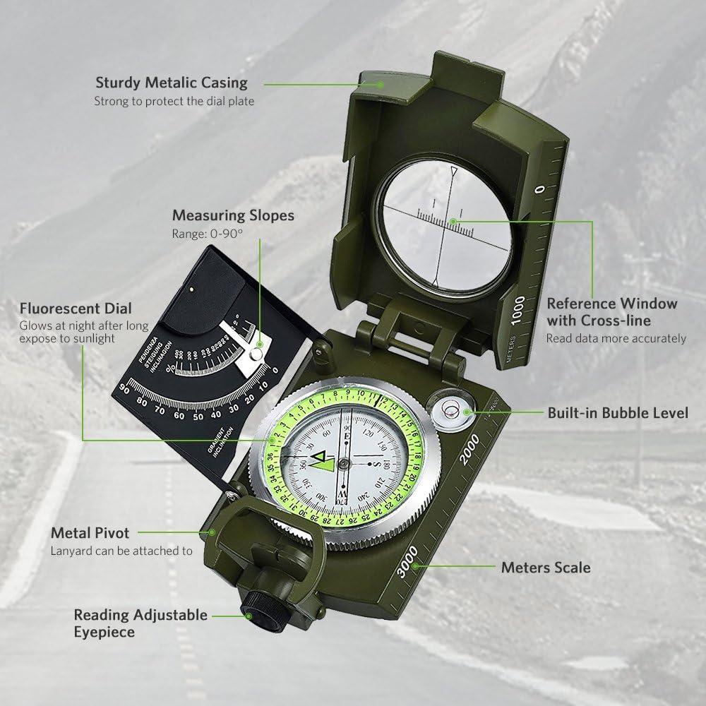 Wallfire Boussole de camping portable de haute pr/écision pour activit/és de plein air