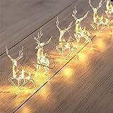 Cordão de luzes de Natal, operado por bateria, branco quente, rena, cordão de luzes de fada, decoração de Natal, rena de Nata