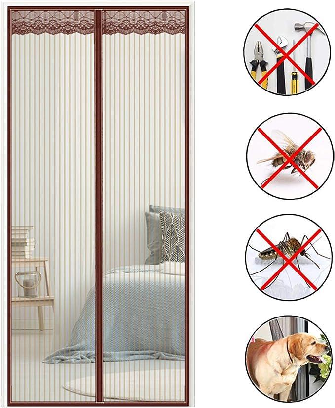COAOC Cortina Mosquitera Magnetica, Mantiene Los Mosquitos De Insectos Fuera Manos Libres para Puertas Correderas/Balcones/Terraza - Marrón 90x205cm(35x81inch): Amazon.es: Hogar