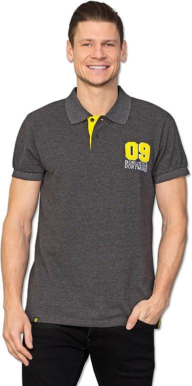 Borussia Dortmund Polo BVB, negro jaspeado con detalles en 09 y amarillo en la tira de botones, 80% algodón y 20% poliéster, S-3XL (antracita).