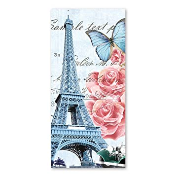 Diseño de mariposas Vintage toallas de ducha de la torre Eiffel con rosa rosa flor antiguo