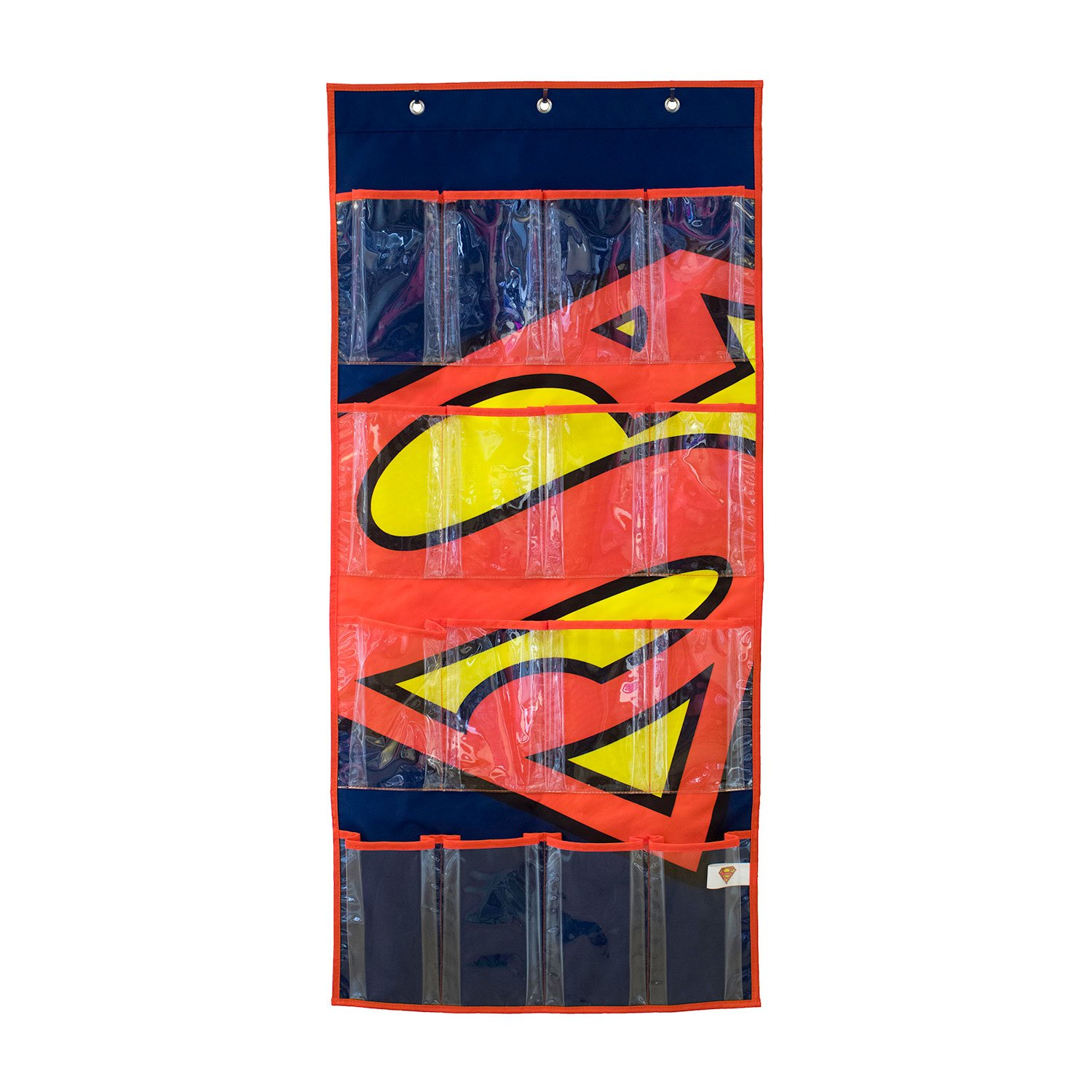 Everything Mary DC Comics Superman Shoe Organizer | 16-Pocket Hanging Shoe Organizer for Closet and Bedroom Storage | DC Comics Over The Door Shoe Organizer for Children, Kids Toys