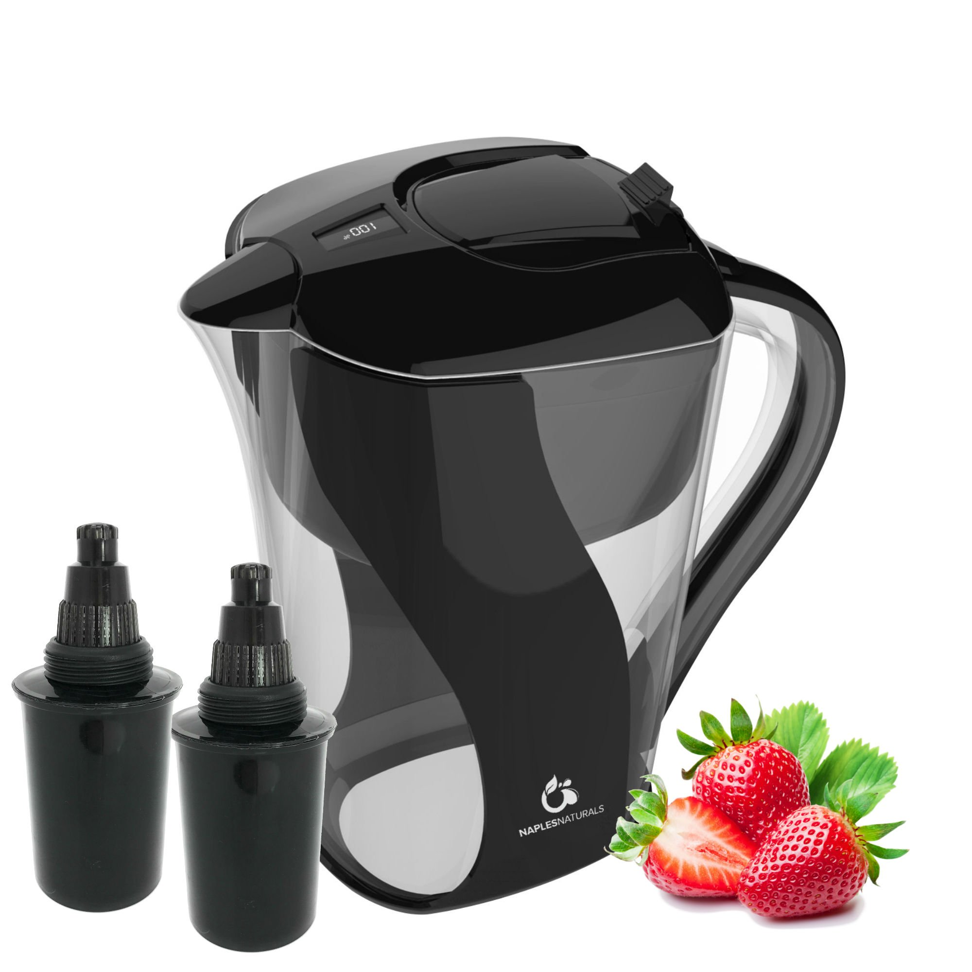 Alkaline Water Pitcher with Two 6-Stage Carbon Water Filters - Removes Chlorine and Contaminants plus Increases pH, by Naples Naturals (Slimline) (Black)