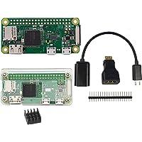 DIGISHUO Complete Starter 6 in 1 Kit Raspberry Pi Zero W WiFi Version1GHz 512M&Transparent Case&Mini HDMI Connector…