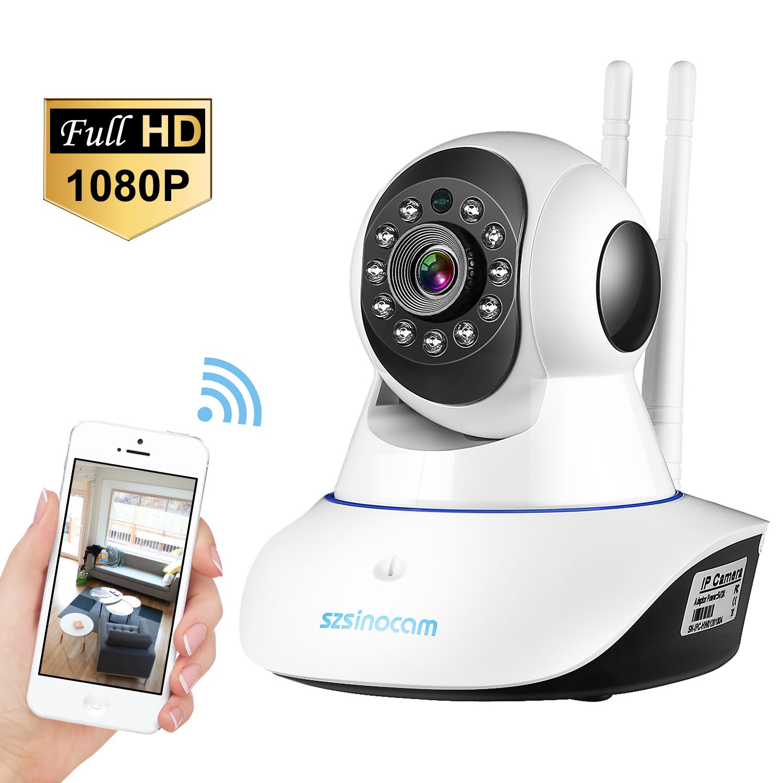 [Updated Version] IP Camera,SZSINOCAM 1080P FHD WiFi IP Camera Wireless Home Security Surveillance Camera (Aerial Aluminum Alloy Chip)For Elder/ Pet/Baby Monitor,Pan/Tilt,WIFI Enhanced,Two-Way Audio