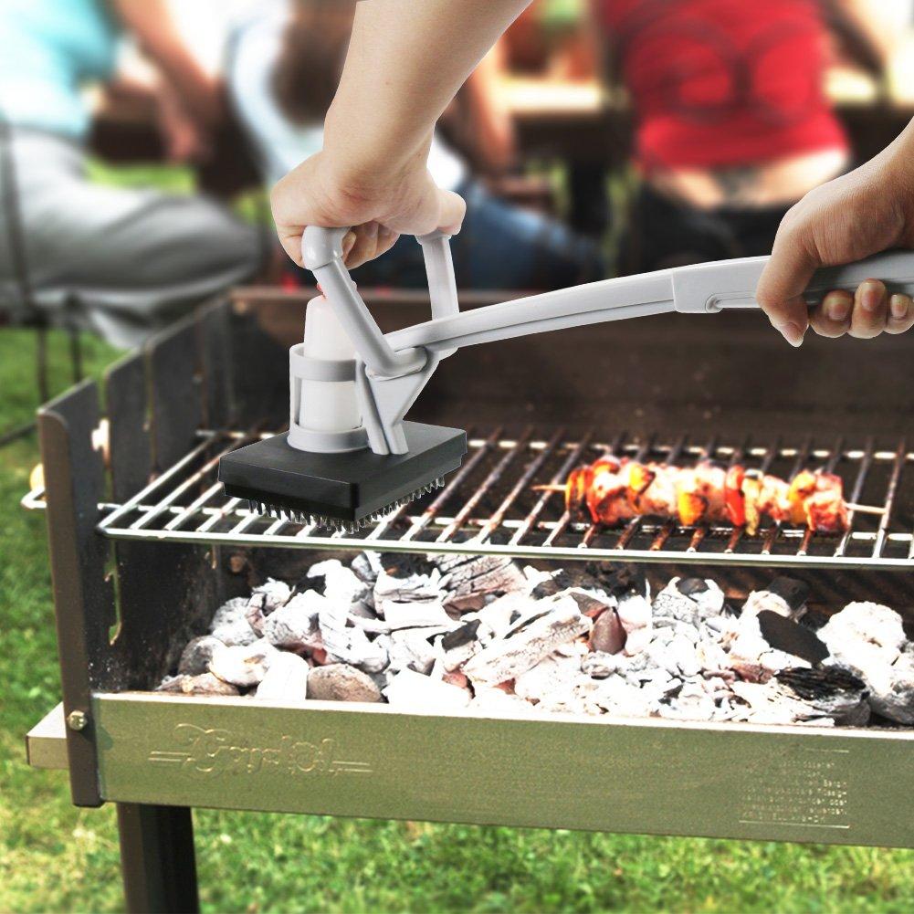 Barbacoa Grill Brush 2 en 1 Barbacoa Grill Grates Vapor de energía cepillo de limpieza Scrapers Grid Scrub para Cocina Oil Stain Acero inoxidable Iron ...