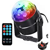 DJ Stage lights Menggood 7 Color Changes With Sound Auto Flash Magic ball lamp RGB LED stage Rotating Party Light Remote Control Atmosphere for Disco KTV Xmas Bar Club Christmas DJ Pub [UK Plug]