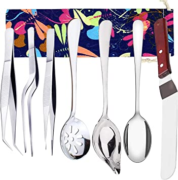 Professional Chef Plating Kit TWEEZERS Tongs Stainless Steel Spatula Offset Set