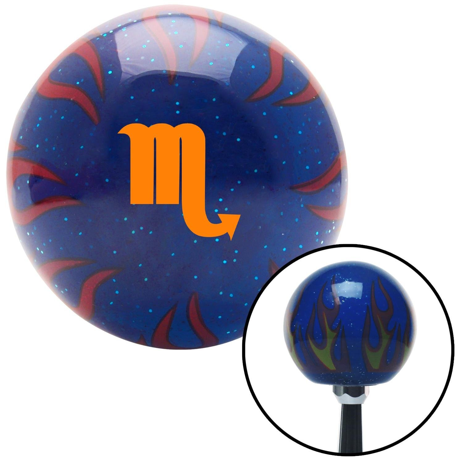 Orange Scorpio Blue Flame Metal Flake with M16 x 1.5 Insert American Shifter 298029 Shift Knob