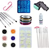 SAVNI combo of 100 pcs of Nail extensions ,5 brush tools and 7 nail art brushes , nail art 10 striping tapes , 6 different glitters , stamping design plate , stamp and scrapper , nail dust brush and 1 pc of 3gm nail glue