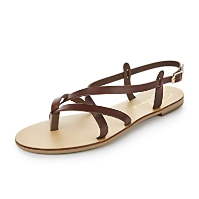 Schmick Shoes Sandalen Hekate: Damen Leder Zehentrenner Sommerschuhe Riemchensandale Flacher Absatz Handgefertigt Größe: 40, Farbe: Schwarz/Natural