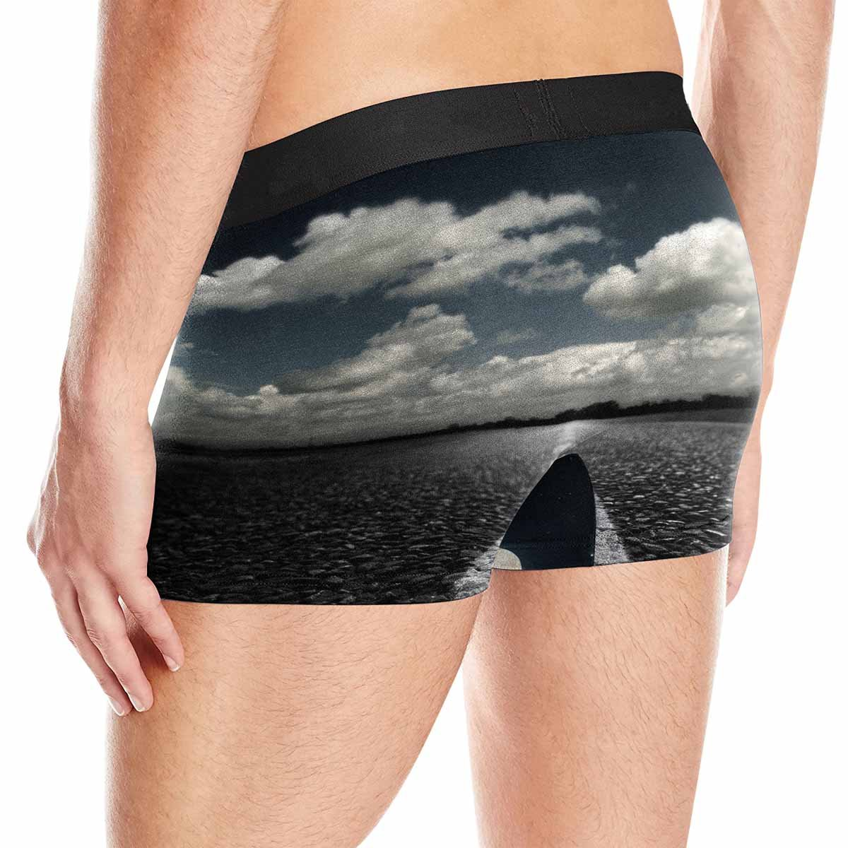 INTERESTPRINT Custom Mens All-Over Print Boxer Briefs Night of The Highway and Huge Moon XS-3XL
