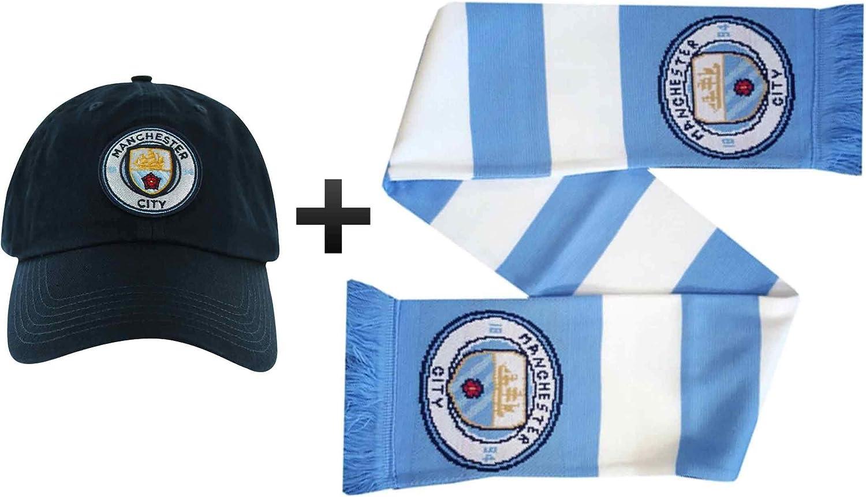 Official Manchester City Ensemble Cadeau avec Casquette et /écharpe pour Fans de Football