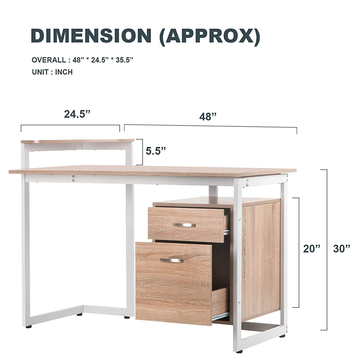 Merax Stylish Computer Desk Home and Office Desk Table Furniture with Drawer and Printer Shelf, Walnut (Oak)