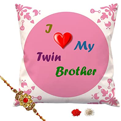 Style Crome I Love My Twin Brother Cushion Cover 12x12 Inches With Filler Rakhi