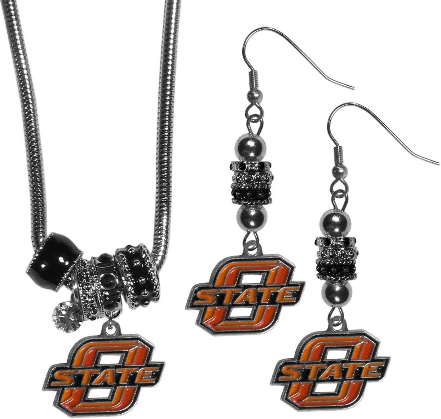 NCAA Siskiyou Sports Womens Oklahoma State Cowboys Euro Bead Earrings and Necklace Set One Size Team Color