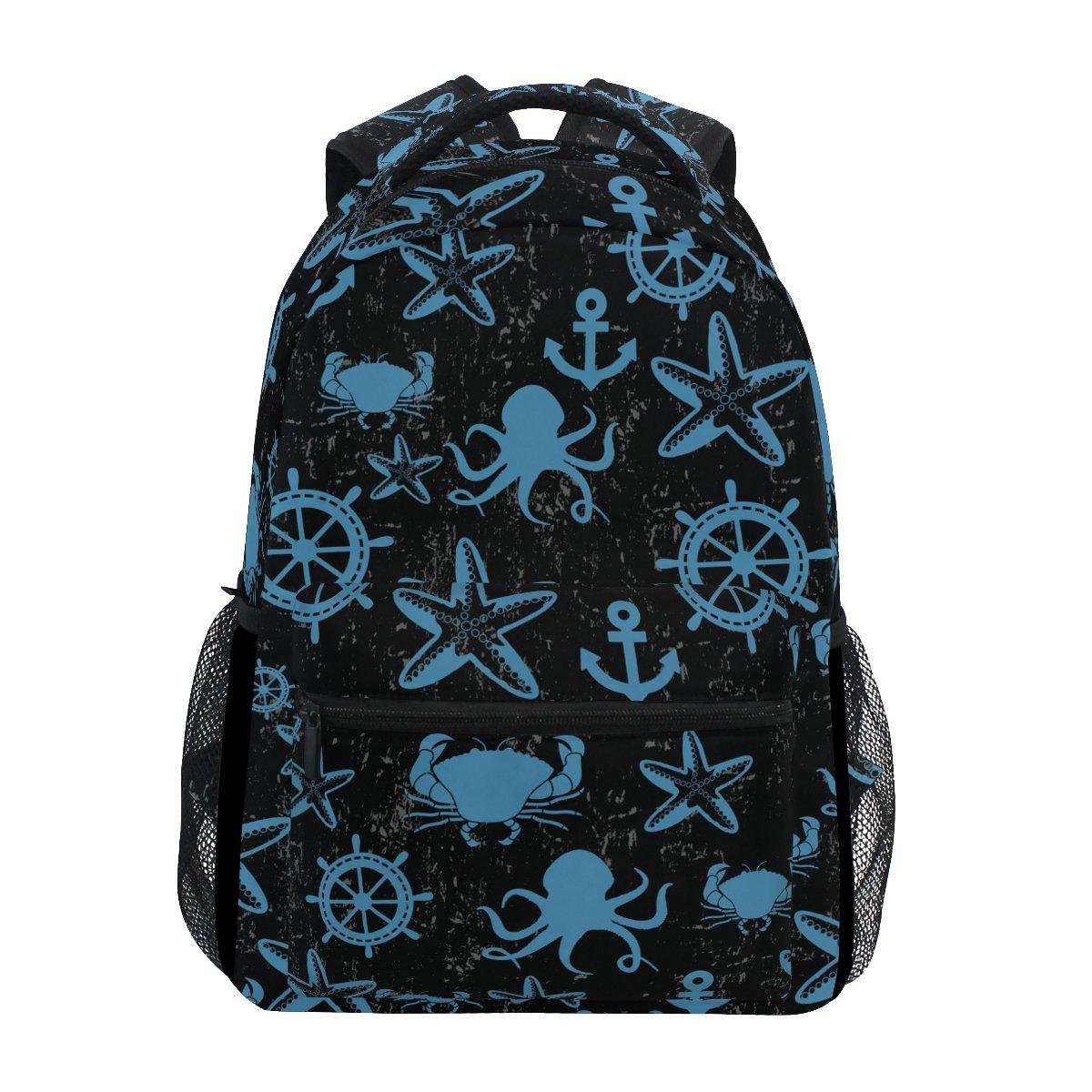 TIZORAX Mer Vie Ancre étoile de mer Crabe Octopus Sac à dos Sac d'école pour randonnée Voyage Sac à dos