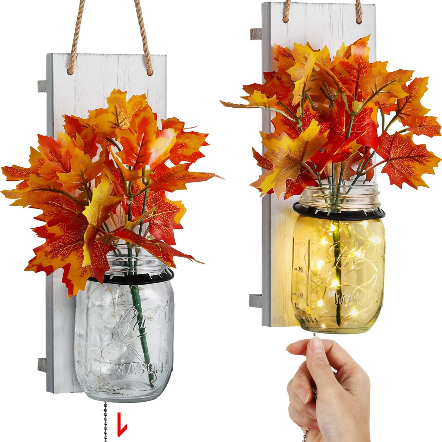 Lamps Light Fixtures Mason Jar Wall Sconce Silk Hydrangea And Led Strip Lights Design For Home Decoration Set Of 2 Rustic Home Decor With Pull Chain Switch Tj Moree Rustic Wall Sconce