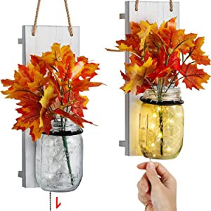 TJ.MOREE Mason Jar Wall Sconce for Fall Decor, Farmhouse Home Decor with Pull Chain Switch, Maple Leaf, LED Strip Lights Autumn Decor for Wedding Housewarming Thanksgiving