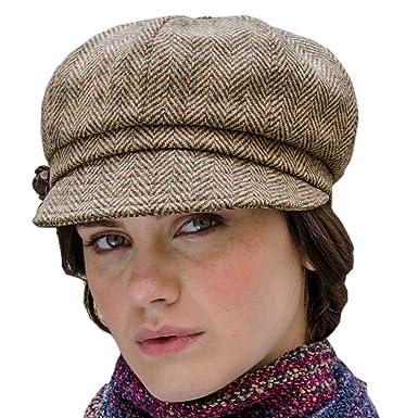Amazon.com  Ladies Newsboy Tweed Hat - One Size 603fe305b62