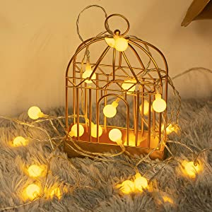 Fulighture LED Globe String Light, 16.4ft 40 LED 2-Mode Twinkle String Light, Battery Operated Ball Fairy Light for Indoor/Outdoor Decorative, Hanging Lights for Garden, Patio, Valentine, Warm White