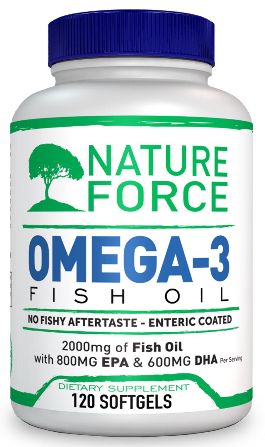 Nature Force Omega 3 Fish Oil 2000mg EPA 800mg + DHA 600mg Triple Strength Burpless No Fishy Aftertaste 120 Capsules