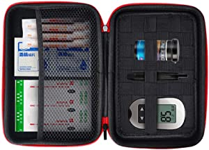 Eva Hard Protective Bag Travel Case Organizer Holder for Diabetic Supplies, Diabetes Testing Kit, Blood Glucose Meter Monitor, Test Strips, Syringes, Lancets, Needles (Black)