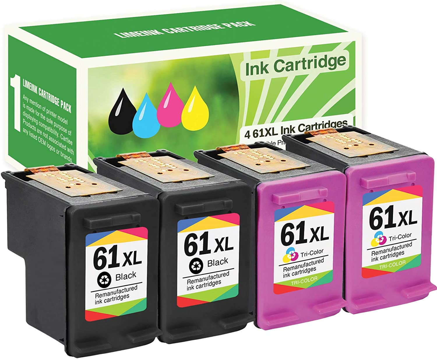 Limeink 4 Remanufactured Ink Cartridge Replacement 61XL High Yield for HP 1000 1010 1050 1055 1510 1512 2000 2050 2510 2512 2514 2540 2542 2543 2549 3000 3050 3050A 3054A 3051A Envy (2 Black, 2 Color)