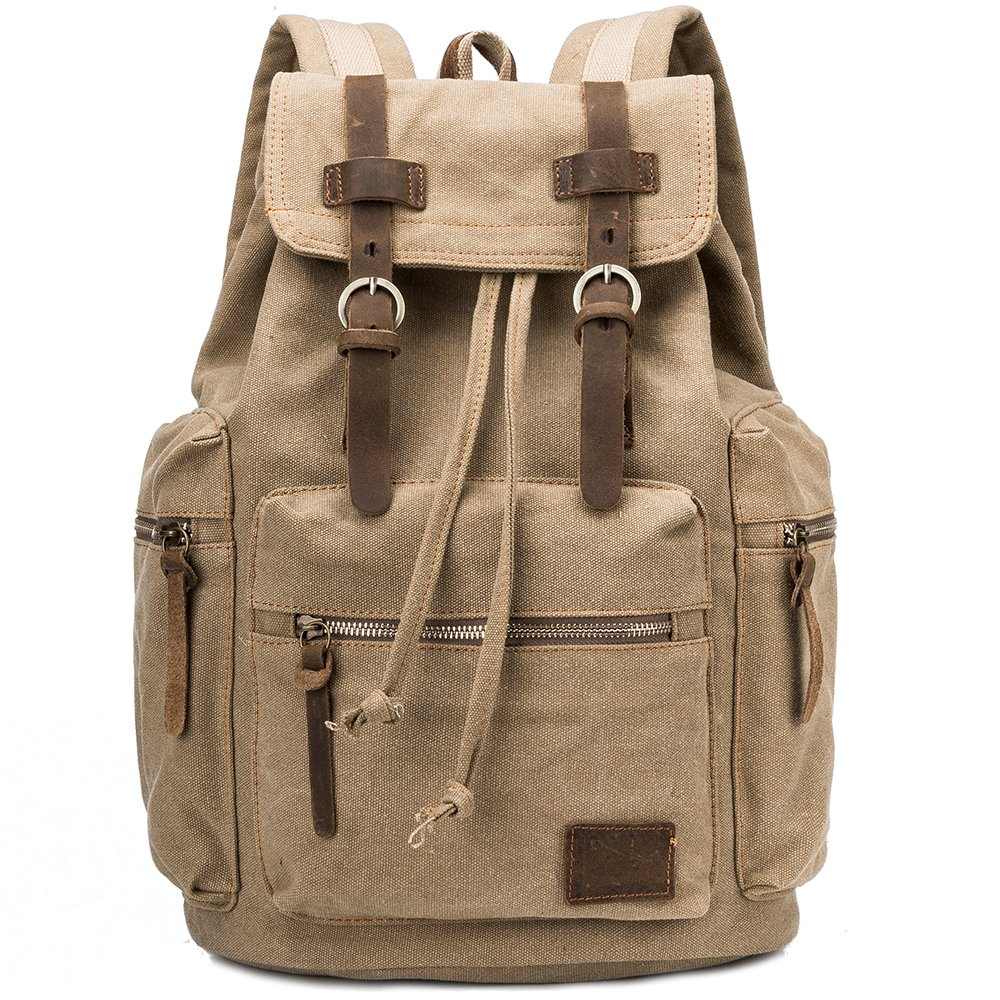 CHAMBEEN Vintage Cotton Canvas Backpack ,Crazy Horse Leather Bookbag - Khaki