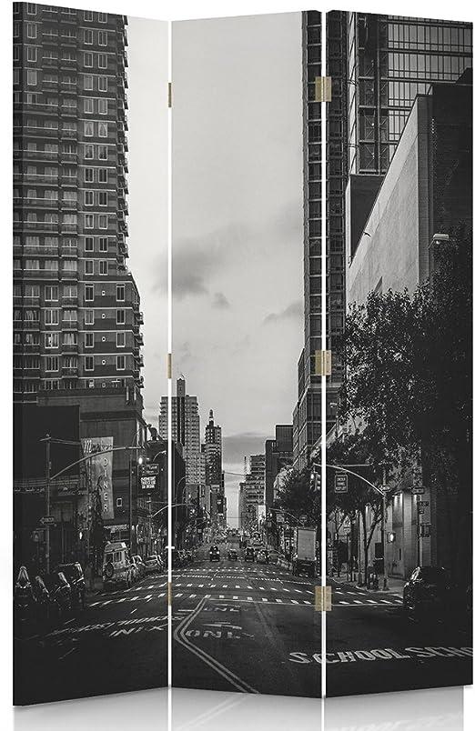 feeby Frames, biombo interior, biombo lienzo, biombo Déco, barrera de separación, biombo 3 o 4 paneles arquitectura, ciudad, calle, Carrefour, rascacielos, paso peatón, escuela, blanco y negro, 1 face 110x180 cm: Amazon.es: Hogar