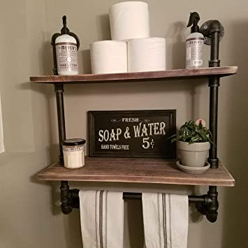 Fodue Industrial Pipe Shelf Rustic Wall Shelf With Towel Bar 24