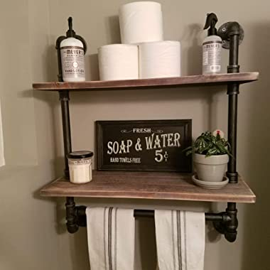 FODUE Industrial Pipe Shelf,Rustic Wall Shelf with Towel Bar,24  Towel Racks for Bathroom,2-Layer Pipe Shelves Wood Shelf Shelving (2-Layer)