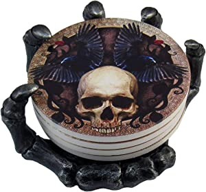 """DWK 5.5"""" Helping Hand Beautiful Gothic Skull Beverage Coasters with Creepy Skeleton Hand Holder for Halloween Home Kitchen Dining and Bar Decor"""