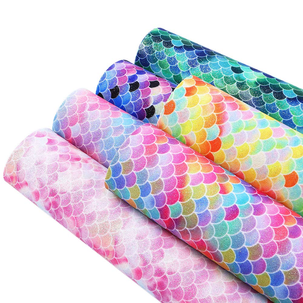 David accessories Mermaid Fish Scales Printed Leather Fabric Glitter Leather Sheets 6 Pcs 8'' x 13'' (20cm x 34cm) Thick Canvas Back for DIY Projects (Assorted 6 pcs)