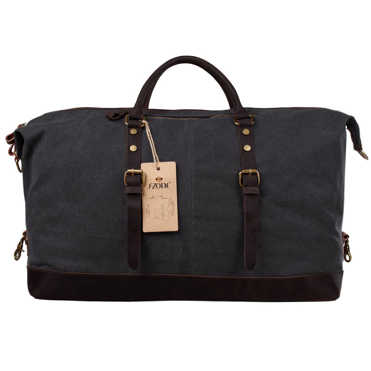 Amazon.com   S-ZONE Oversized Canvas Genuine Leather Trim Travel Tote Duffel  Shoulder Handbag Weekend Bag   Sports Duffels cfa5de2951