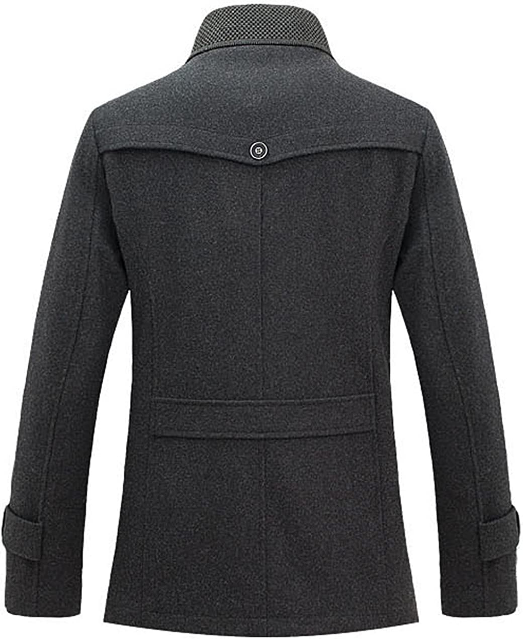 chouyatou Mens Fashion Single Breasted Wool-Blend Sherpa Lined Insulated Pea Coats