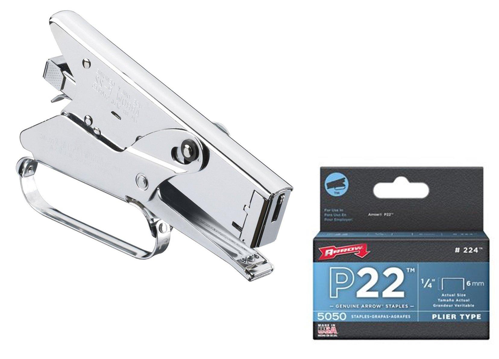 Arrow Fastener Heavy Duty Plier Type Stapler & 224 Genuine 1/4-Inch Staples, 5,050-Pack - Bundle 2 Items