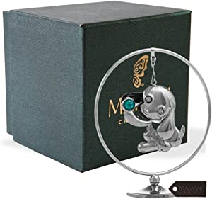 Matashi Chrome Plated Puppy Hoop Tabletop Ornament with Crystals Elegant Showpiece Dog Figurine Home Living Room Office Decor Gift for Christmas Birthday New Year Holiday Mother's Day