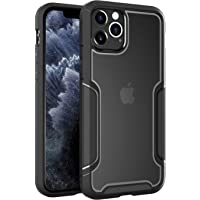 Zuslab Slim Thin Silicone Rubber Bumper with Transparent Hard Back Cover Protective Clear Case for Apple iPhone 11 Pro MAX Phone (Black & Grey)