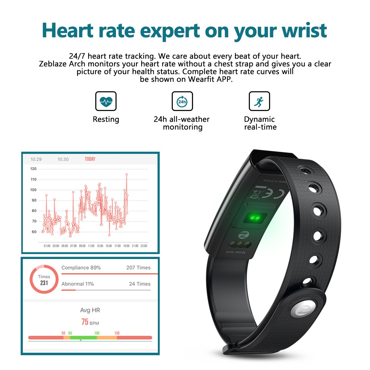 Fitness Tracker,Hizek Activity Tracker with Heart Rate