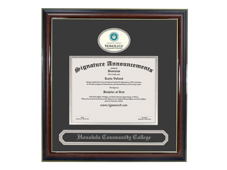 Signature Announcements Honolulu-Community-College Undergraduate Gold Accent Gloss Mahogany Sculpted Foil Seal /& Name Graduation Diploma Frame 16 x 16
