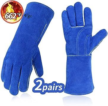2-Pair Color Blue Welding Gloves Cow Split Leather M Size 8