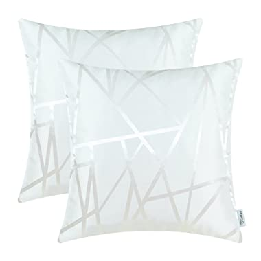 CaliTime Pack of 2 Throw Pillow Covers Cases for Couch Sofa Home Decor Modern Triangles Abstract Lines Geometric 18 X 18 Inches White