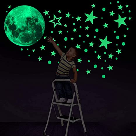 NEW Glow In The Dark PVC Stars Ceiling Wall Art Luminous Space Stickers Moon