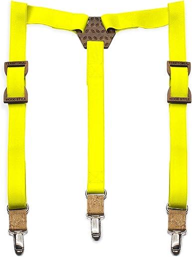 Tirantes de madera Rugby. Colección de moda hombre: Pasadores de nogal, confeccionados a mano en España. Línea vintage boda y eventos. Color de elástico a elegir (Amarillo): Amazon.es: Ropa y accesorios
