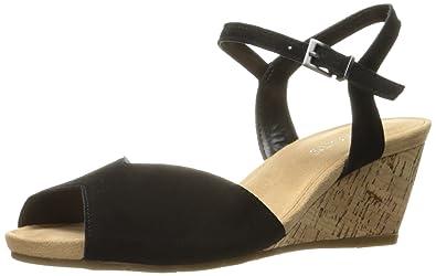 Aerosoles Women's Cupcake Wedge Sandal, Black Suede, 5.5 M US