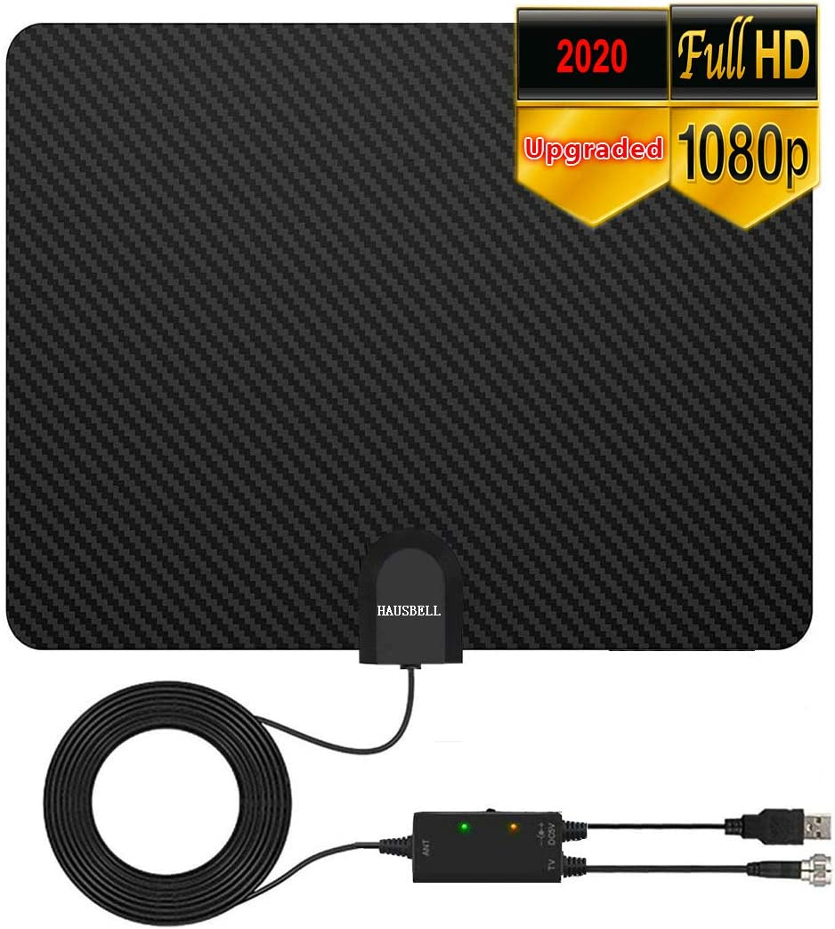 HAUSBELL 2020 Digital TV Antenna Inbdoor, Amplified 4K HD Digital TV Antenna, TV Antenna Amplifier, Up to 80 Miles Range, Support 4K 1080P Amplifier Signal Booster, 16FT Coax Cable
