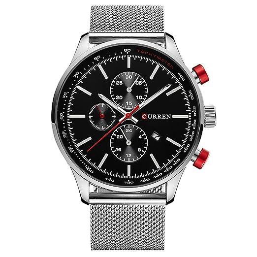 Curren Marca Relojes Hombre Acero Inoxidable Reloj de Cuarzo los Hombres Casual Resistente al Agua Reloj Hombre Sport Reloj de Pulsera: Amazon.es: Relojes
