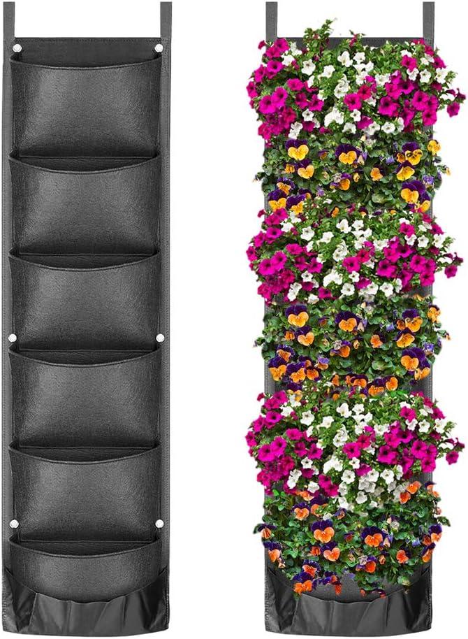 Xiangmall Bolsas Plantas Pared 6 Bolsillos Jardinera Vertical Fieltro Bolsas de Cultivo de Plantas Bolsas Plantacion para Interior Exterior Jardín Balcón Terraza Decoración Hogareña (Negro)