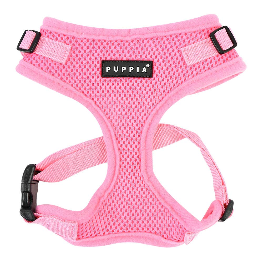 Authentic Puppia RiteFit Harness with Adjustable Neck, Pink, Small